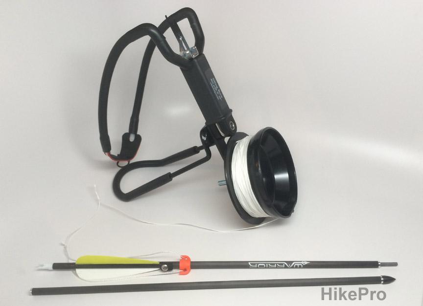 New bowfishing reel w fishing line and take down break for Fishing bow kit