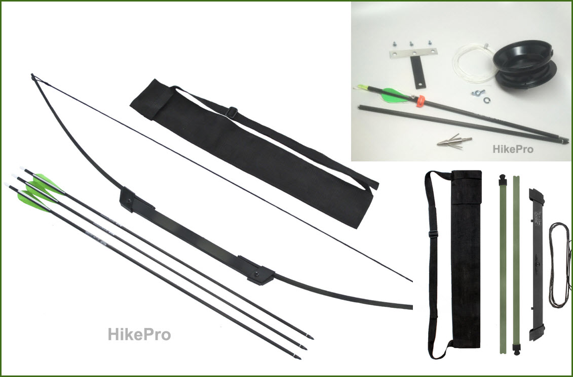 Hikepro compact take down survival bow arrow set for Fishing bow kit